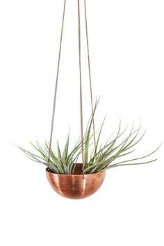 Large Hanging Planter with hand spun copper/ brass bowl & chain / Modern Planter / Plant Hanger / Minimalist Home Decor