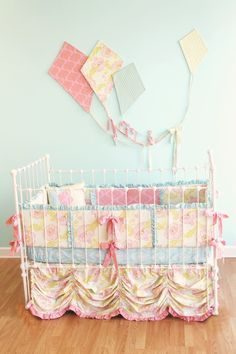 """Custom Baby Crib Bedding -  """"Fly Away With Me""""  couture cribset. $520.00, via Etsy."""