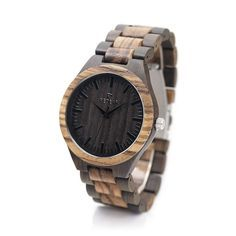 A classic wooden bamboo watch in a gorgeous Dark Stain with Zebrawood Highlights. This 100% Japanese Miyota Quartz movement watch is a west coast favorite. With a 44mm diameter dial and a folding link
