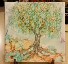Tree in alcohol ink on 8x8 tile for baby nursery by Tina.