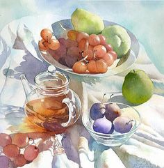 「葡萄とティーポット」水彩画/福井良佑...watercolor still life of fruit and tea with tablecloth
