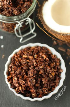 This Chocolate Coconut Granola is so amazingly delicious that you'd never guess it was made a little healthier! From texanerin.com