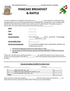 """How to Have Your Own Pancake Breakfast and Raffle Fundrai"