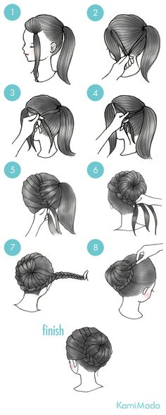 Wrap-around braided bun tutorial.  Use your side bangs! Ballerina buns are so cute, but look so complicated
