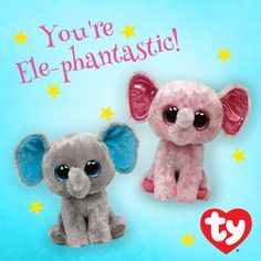 5fb104b20d4 Ellie and Peanut want to wish you an Ele-phantastic day! Ty Boos