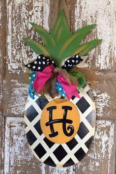 Pineapple Door Hanger Welcome Wreath Initial by SouthernStyleGifts, $55.00
