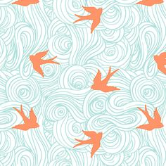 Small Scale Take Fight in Turquoise and Tangerine fabric by willowlanetextiles on Spoonflower - custom fabric