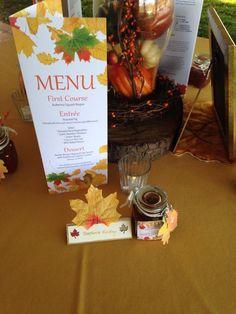 Autumn Wedding theme #wedding #autumn #menu #favourlabels #bbqsauce #leaves by Stef Hinkley