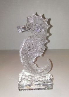 "Waterford Crystal Seahorse Paperweight Figurine 7"" Beautiful Iconic Ireland #WaterfordCrystal"