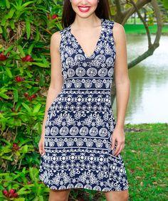 This Navy & White Geo Swirl Cutout V-Neck Dress is perfect! #zulilyfinds