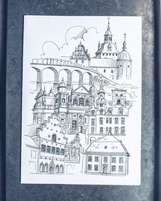 By Elin Östberg Resultatet av Kalmar.  Motivet dyker upp i min webbshop på www.stadsverk.se inom kort! 😃 Tills dess, glöm inte att utforska de nuvarande motiven!  #stadsverk #sketch #sketching #sketchbook #art #artwork #print #doodle #doodling #architecture #sweden #målning #rita #teckning #teckna #måla #illustrate #illustrator #art #architecture
