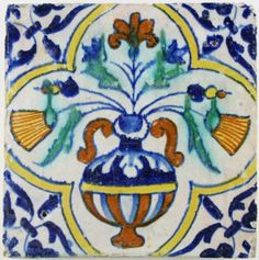 Antique Dutch Delft polychrome tile with a flower pot in square