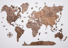 Brown Farmhouse Wooden World Map with USA borders by WoodPecStudio. Travel push pin maps for wall office decor, bedroom and living room rustic decor, hallway decoration. World maps from wood for wall decor in farmhouse style. Push Pin World Map, World Map Wall Art, Map Wall Art, Anniversary Gift, Wooden Travel Push Pin Map, Housewarming Gift #mapdecor #kitchenwalldecor #homedecor