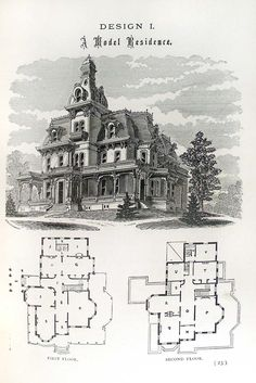 Yeeees!! This is so awesome!! Finally, an old and traditional Victorian with it's floor plan as well as an exterior view!! From: Hobbs's architecture: containing designs and ground plans for villas, cottages and other edifices, both suburban and rural, adapted to the United States. With rules for criticism, and introduction (1876)