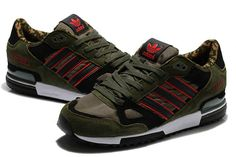 Men's Adidas ZX 750 Camouflage Army Green Black Red White Casual Shoes (C33yyC)