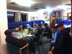 All the boys in the (blue) green room before the Fareham show.