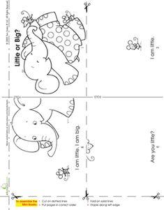 Kindergarten Phonics Worksheets: Make a Mini Story Book: Little or Big?