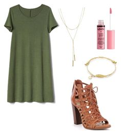 """""""Swing Dress #under100"""" by maggiekane1 ❤ liked on Polyvore featuring Gap, Bloomingdale's and Charlotte Russe"""