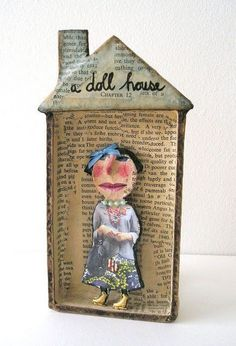It is original doll by Julie Arkell and I got her from my lovely colleagues in the Art Department when I w. Book Crafts, Arts And Crafts, Art Crafts, Paper Dolls, Art Dolls, Paper Mache Crafts, Matchbox Art, Assemblage Art, Handmade Toys