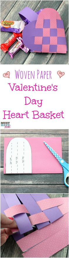 Woven Heart Basket Pattern and Tutorial with detailed instructions on how to make them! Perfect Valentine's Day basket and easy enough for a kids Valentine's Day project! These are like the scandinavian heart baskets but this tutorial makes them so easy!:
