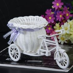 Fine 1pc Rattan Mini Knitted Wicker Bike Ornaments Flower Baskets Rattan Tricycle Decoration For Home Decoration Party Wedding Rapid Heat Dissipation Home