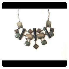 Statement necklace Gunmetal grey and black stone statement necklace. Jewelry Necklaces