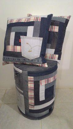 Puff de papelão e capa + almofadas de jeans reaproveitados!!!