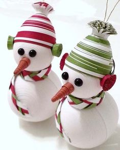 paper quilling christmas tree snowmen ornaments