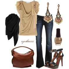 Tan shirt with long jeans plus heeled sandals and scarf+accessories