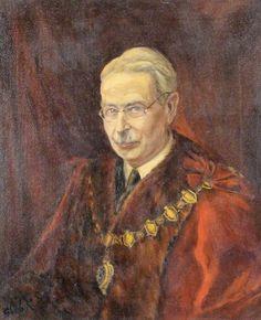 """Lucian Robert Frederic Oldershaw, como """"Mayor"""" de Maidenhead, en 1945. Retrato de K. Gleb."""