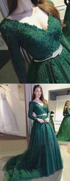 elegant v neck dark green prom dresses, unique long sleeves evening dresses, stunning backless party dress with belt appliques