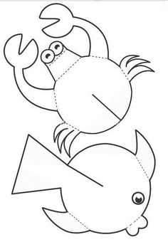 children activities, more than 2000 coloring pages Sea Crafts, Fish Crafts, Diy And Crafts, Arts And Crafts, Paper Crafts, Diy For Kids, Crafts For Kids, Sea Theme, Animal Crafts