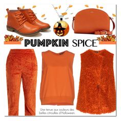 """Monochrome : Pumpkin Spice"" by drinouchou ❤ liked on Polyvore featuring Twin-Set, Isa Arfen, A.P.C., aprico and pumpkinspice"