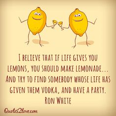 I believe that if life gives you lemons, you should make lemonade… And try to find somebody whose life has given them vodka, and have a party. Ron White