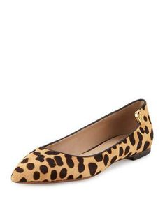 Tory Burch Elizabeth Calf-Hair Pointed-Toe Flat, Leopard Print/Coconut