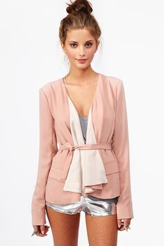 Draped Chiffon Jacket - Structured nude chiffon jacket featuring a draped front and flap pockets. Back vent with tie closure. Fully lined. Looks chic tossed over a tank and high-waist shorts!