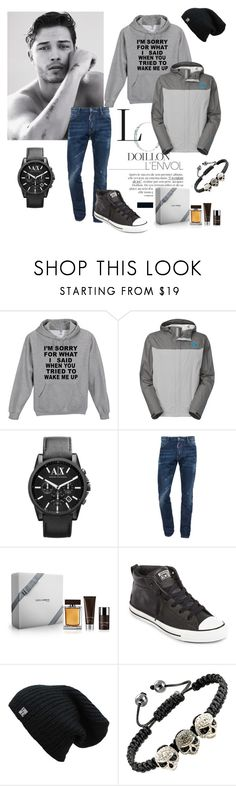 """""""Men  :-)"""" by elvisa-hamzic ❤ liked on Polyvore featuring The North Face, Armani Exchange, Dsquared2, Christian Dior and Converse"""