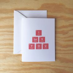 I Love You greeting card periodic table by Wanderlust25PaperCo