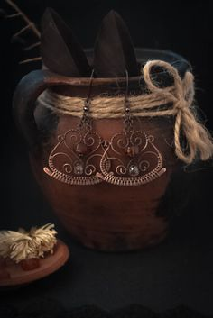 Wire wrapped earrings-copper earrings-wire weaving-wire wrapped-amber…