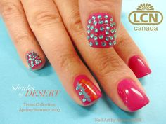New LCN Colour Gel in Pink Pepper with beautiful Blue Oasis Rhinestones - Nail Art by Alyson Ertell