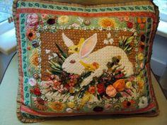 Love the finishing - notice gathered Grosgrain ribbon on edges, white rabbit pillow