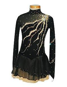Image result for figure skating dress black and gold