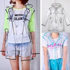NEW Transparent PVC Vinyl Clear Raincoat Runway Style Womens Girls Rain Coat #GL #RunwayStyle