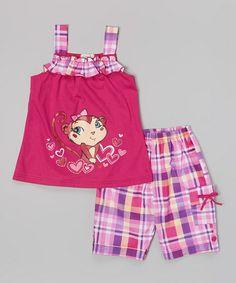 Look at this #zulilyfind! Raspberry Monkey Plaid Ruffle Top & Shorts - Toddler & Girls #zulilyfinds