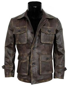 Brown Leather Jacket Men - Real Distressed Lambskin Leather Jackets for Men Brown Leather Jacket Men, Distressed Leather Jacket, Leather Jackets For Sale, Brown Jacket, Leather Men, Real Leather, Lambskin Leather, Leather Wallet, Black Leather