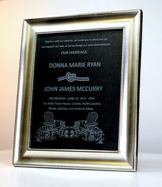 Personalized Custom Etched Wedding - Anniversary - Picture Frame - Your Invitation Engraved on Glass