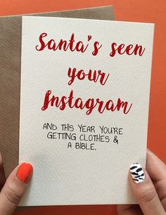 Funny best friend Christmas gift and Christmas card ideas. Hilarious handmade cheeky card. Pin it for later!