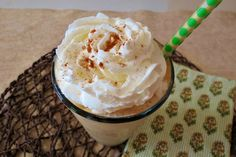 Skinny Gingerbread Frappe - A creamy, spicy frozen drink that tastes like Gingerbread Cookies.  Only 69 calories!