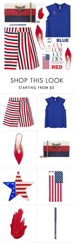 """""""Red, White & Blue: Celebrate the 4th!"""" by dzansumansu ❤ liked on Polyvore featuring Thom Browne, MANGO, Attico, Gucci, NYX, Chanel and fourthofjuly"""