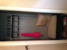 Boring coat closet turned into mini mudroom